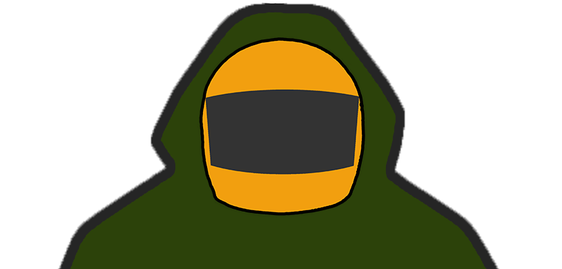 The logo of F1 Anorak, featuring a Formula One helmet inside a coats hood