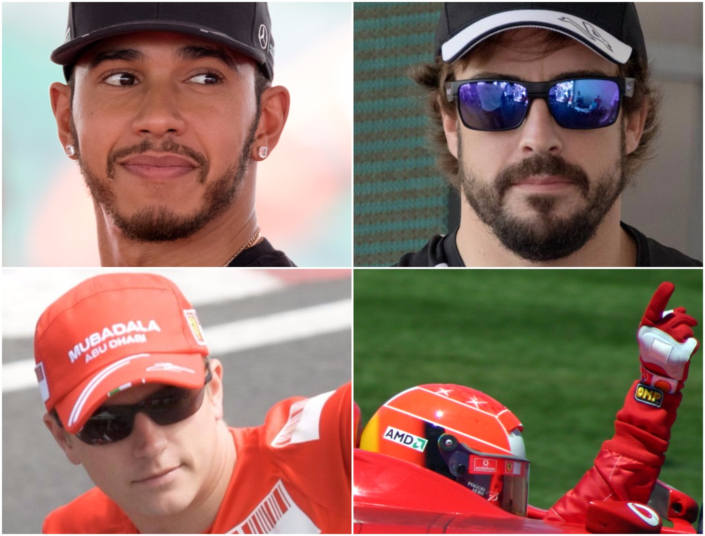 A four-way split image showing Lewis Hamilton, Fernando Alonso, Michael Schumacher and Kimi Raikkonen - Credit: Wikimedia Commons (Morio, Mark McArdle, Rick Dikeman)
