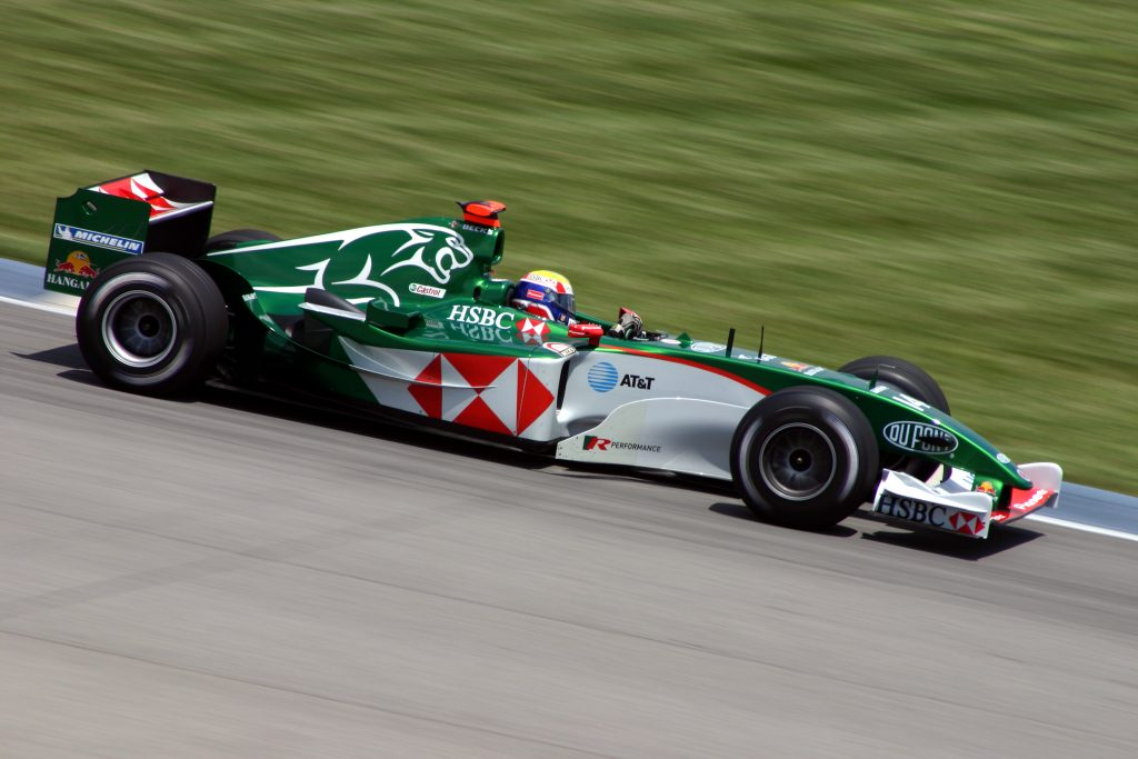 Mark Webber driving the Jaguar R5 F1 car at the 2004 United States Grand Prix