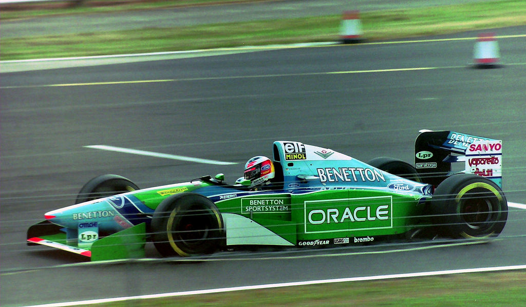 F1 driver Michael Schumacher driving the Benetton-Ford B194 at the 1994 British Grand Prix