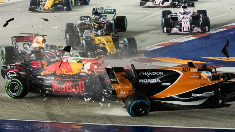 First-corner crash at the 2017 Singapore GP - Credit: Robert Nightingale (Flickr)