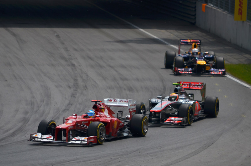Fernando Alonso (Ferrari) leads Lewis Hamilton (McLaren) and Sebastian Vettel (Red Bull) at the 2012 Canadian Grand Prix